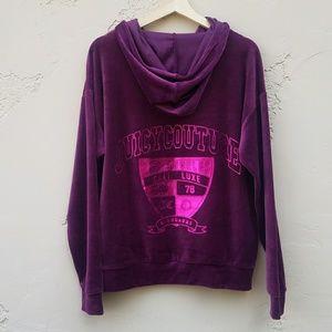 Juicy Couture Purple Velour Hoodie Top Size Medium